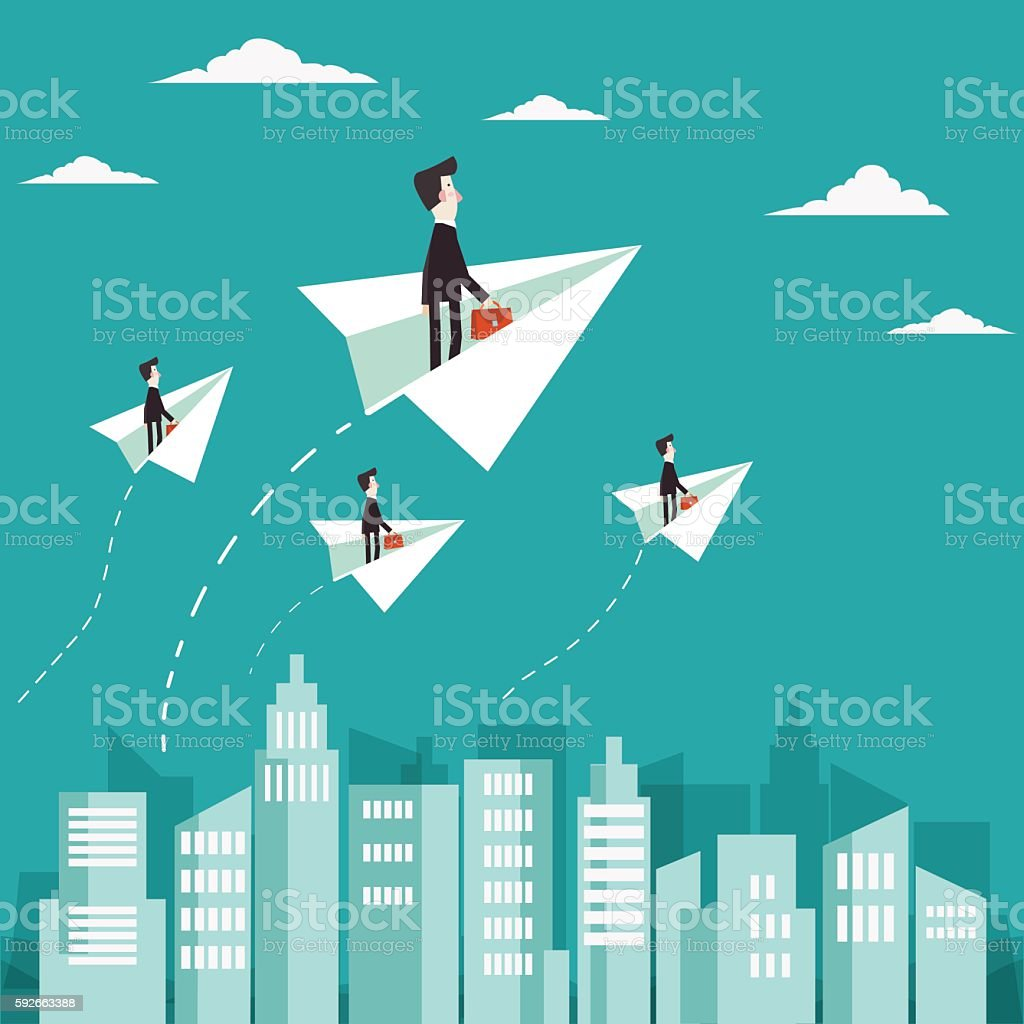 Businessman flying with paper plane over city vector art illustration