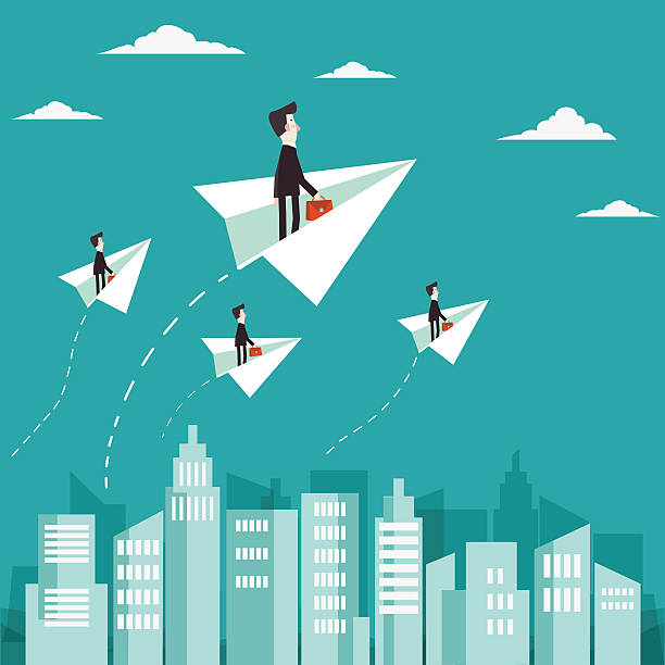 businessman flying with paper plane over city - business travel stock illustrations, clip art, cartoons, & icons