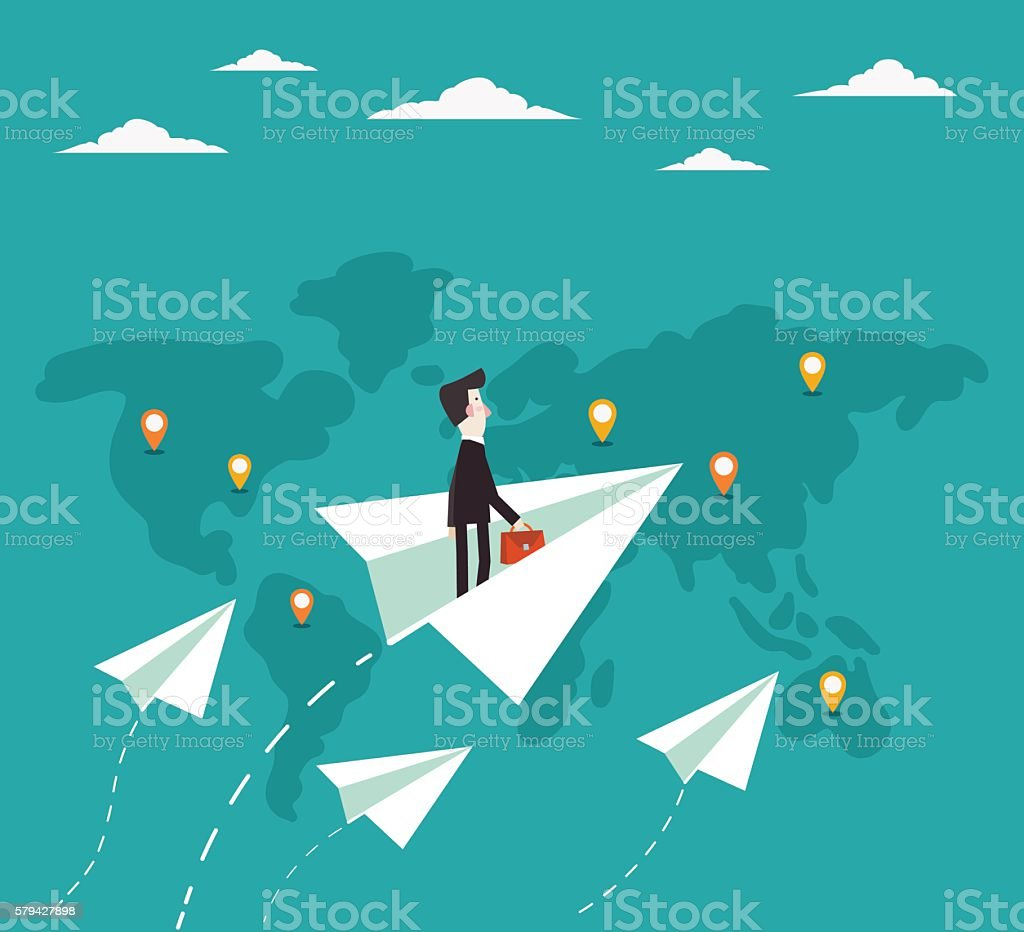 Businessman flying with paper plane over world map vector art illustration