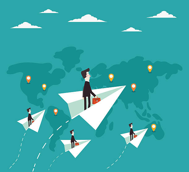 businessman flying with paper plane over world map - business travel stock illustrations, clip art, cartoons, & icons