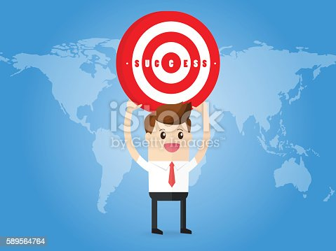 businessman focus successful target carrying dartboard on world map background