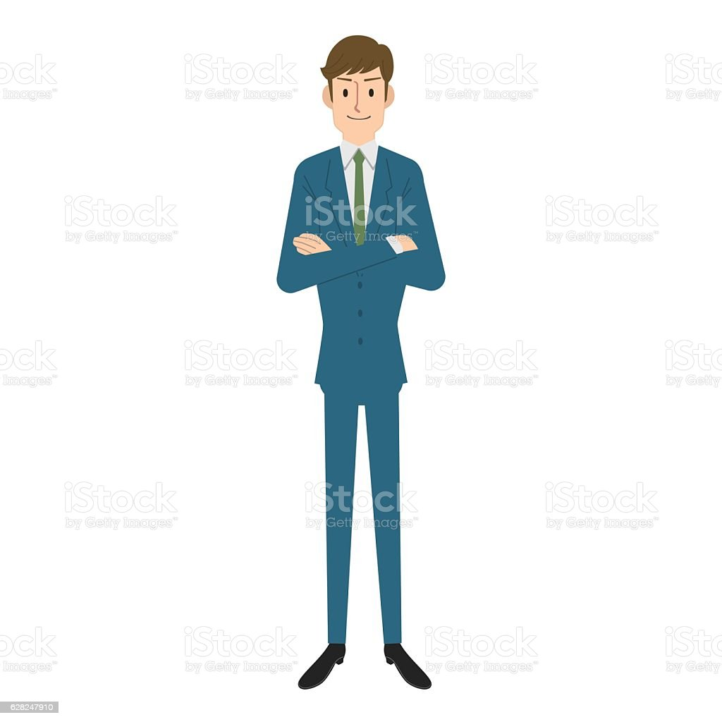 Businessman folding one's arms vector art illustration