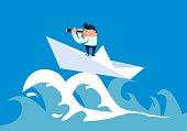 Businessman forward on the waves