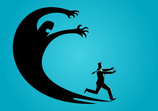 自分の影におびえた実業家 - 恐怖点のイラスト素材/クリップアート素材/マンガ素材/アイコン素材