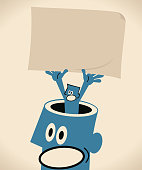 Blue Little Guy Characters Full Length Vector art illustration.Copy Space. Businessman from giant man's opened head holding a blank sign brown paper.