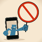 Blue Little Guy Characters Vector art illustration.Copy Space. Businessman from smart phone holding an empty prohibition sign.