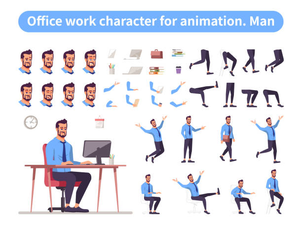 illustrazioni stock, clip art, cartoni animati e icone di tendenza di businessman front view animated flat vector character design. office worker character animation creation cartoon set. manager constructor with various face emotion, body poses, hand gestures, legs kit - ritratto in ufficio