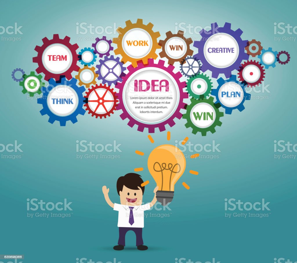 Businessman gears and idea bulb royalty-free businessman gears and idea bulb stock vector art & more images of adult