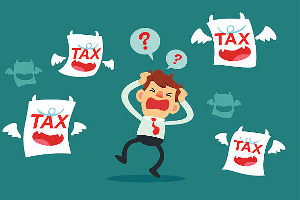 Geschäftsmann Sie verwirrt und umgeben von Steuern monster – Vektorgrafik