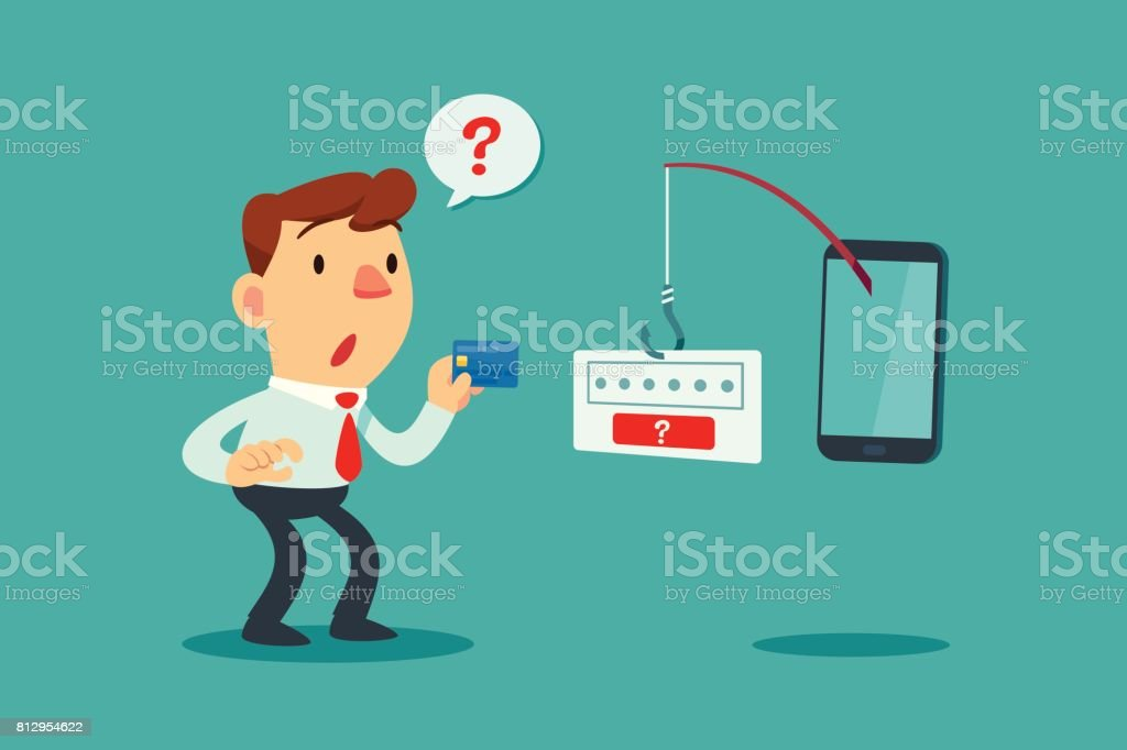 businessman get confused by fishing rod from smart phone vector art illustration