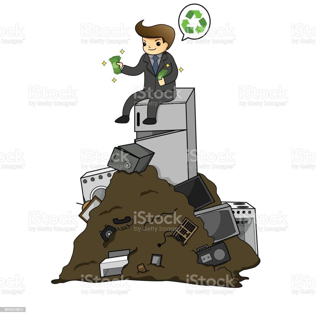 Businessman get rich from waste electrical by recycling vector art illustration