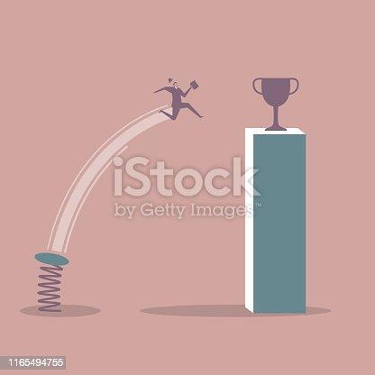 Businessman gets a trophy using a spring springboard.