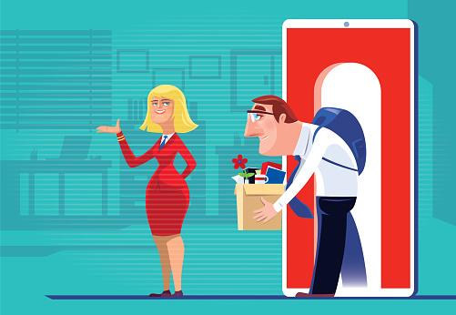 businessman getting employment via smartphone