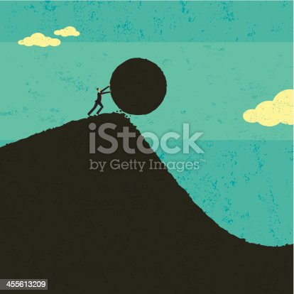 A businessman getting the ball rolling. The man & boulder and background are on separate labeled layers..