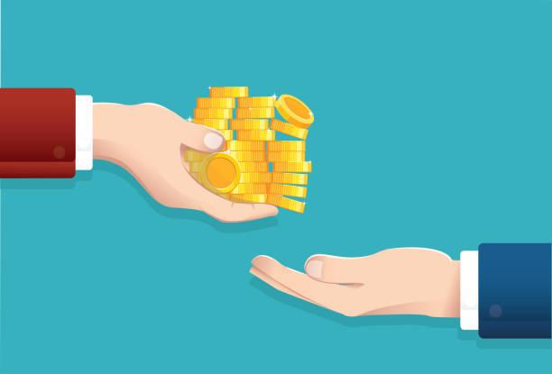 ilustrações, clipart, desenhos animados e ícones de o homem de negócios dá o dinheiro, ilustração eps10 do vetor do conceito do salário - empréstimo