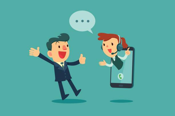 businessman give thumb up to call center operator on screen of smart phone Happy businessman give thumb up to call center operator on screen of smart phone. Online customer service concept. call centre illustrations stock illustrations