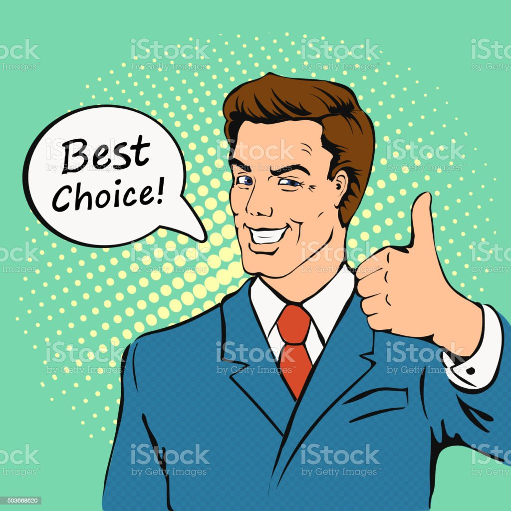 Businessman gives thumb up in  retro comics style.  Successful man vector art illustration