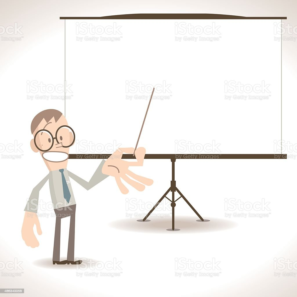 Businessman giving a presentation in a conference/meeting setting vector art illustration