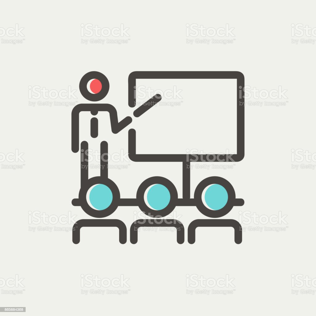 Businessman giving a presentation thin line icon vector art illustration