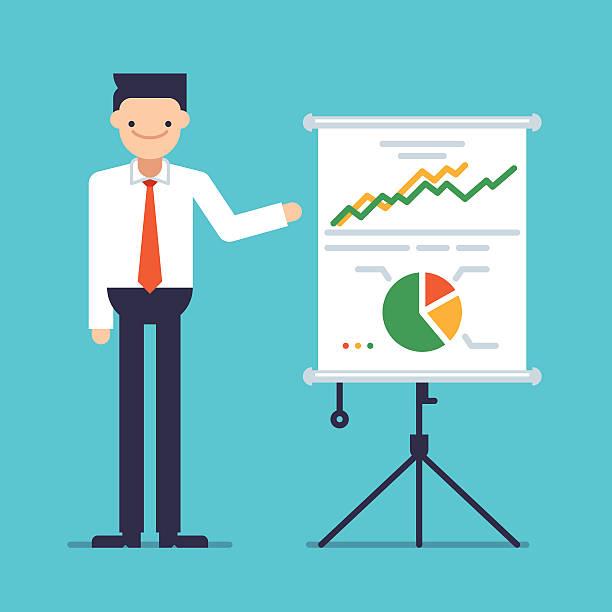 businessman giving a speech showing sales statistics graph on a whiteboard - flipchart stock-grafiken, -clipart, -cartoons und -symbole