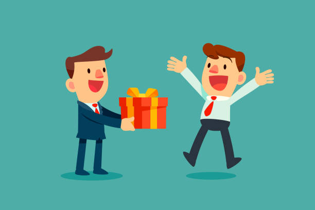 businessman giving another businessman a gift box vector art illustration