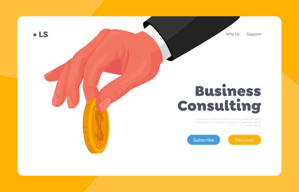 Businessman Giving Golden Coin Landing Page Template. Male Hand in Formal Wear Holding Gold Coin in Fingers, Charity Businessman Giving Golden Coin Landing Page Template. Male Hand in Formal Wear Holding Gold Coin in Fingers. Charity, Donation, Wealth or Money Investment Concept. Cartoon Vector Illustration human limb stock illustrations