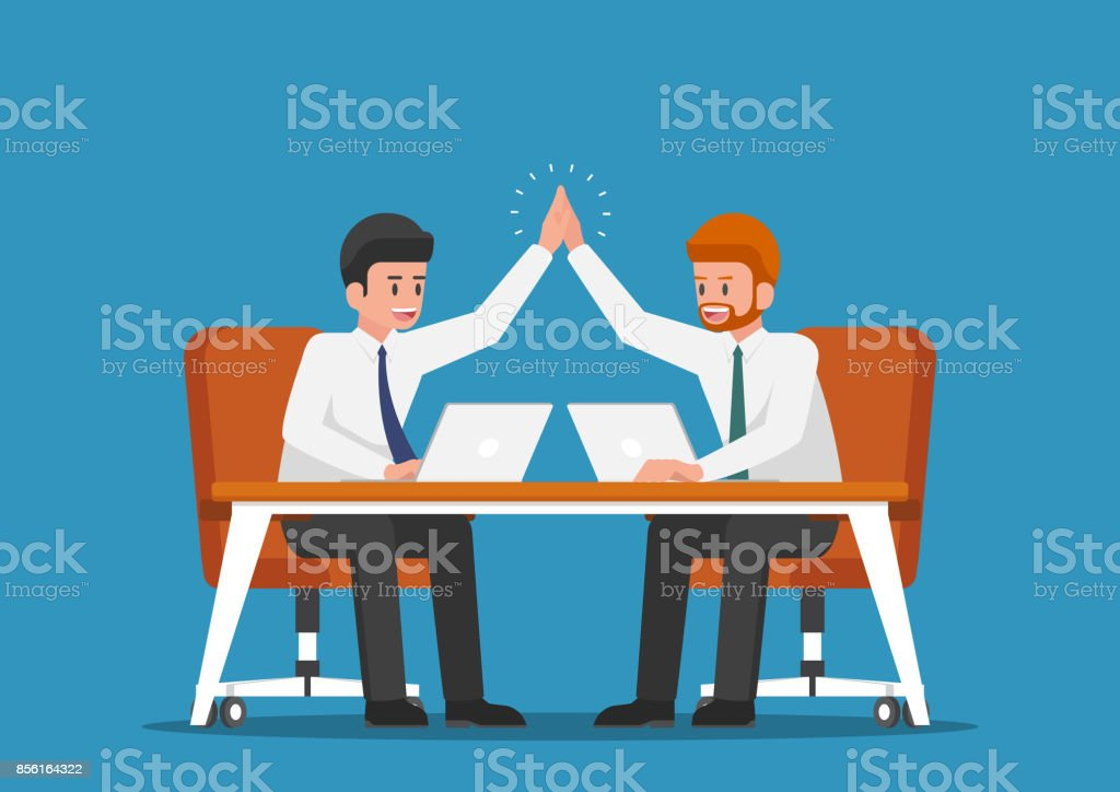 Businessman giving high five to each other. vector art illustration