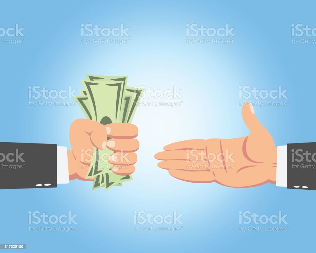 Businessman Giving Money vector art illustration