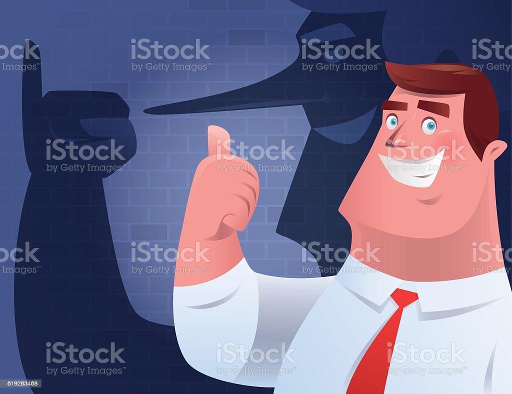 businessman giving thumbs up vector art illustration