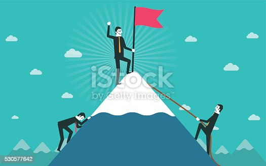 istock Businessman go to the top of mountain 530577642