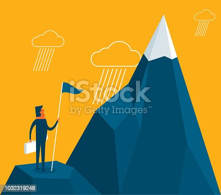 Purposeful businessman with flag in hand