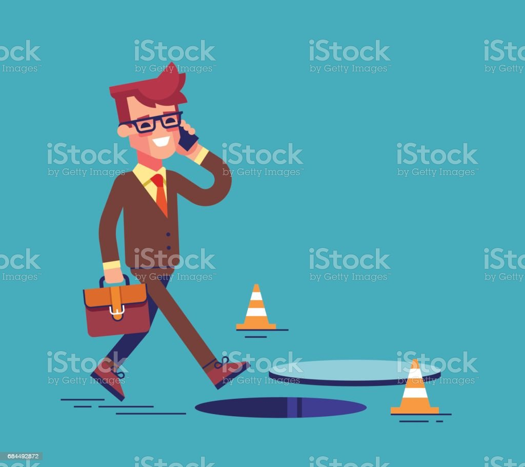 Businessman going on the street and talking by cell phone. He doesn't notice open manhole and could fall. Business risks and insurance concept. Vector illustration. – Vektorgrafik