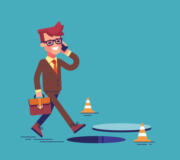 Businessman going on the street and talking by cell phone. He doesn't notice open manhole and could fall. Business risks and insurance concept. Vector illustration. Businessman going on the street and talking by cell phone. He doesn't notice open manhole and could fall. Business risks and insurance concept. Vector illustration. careless stock illustrations