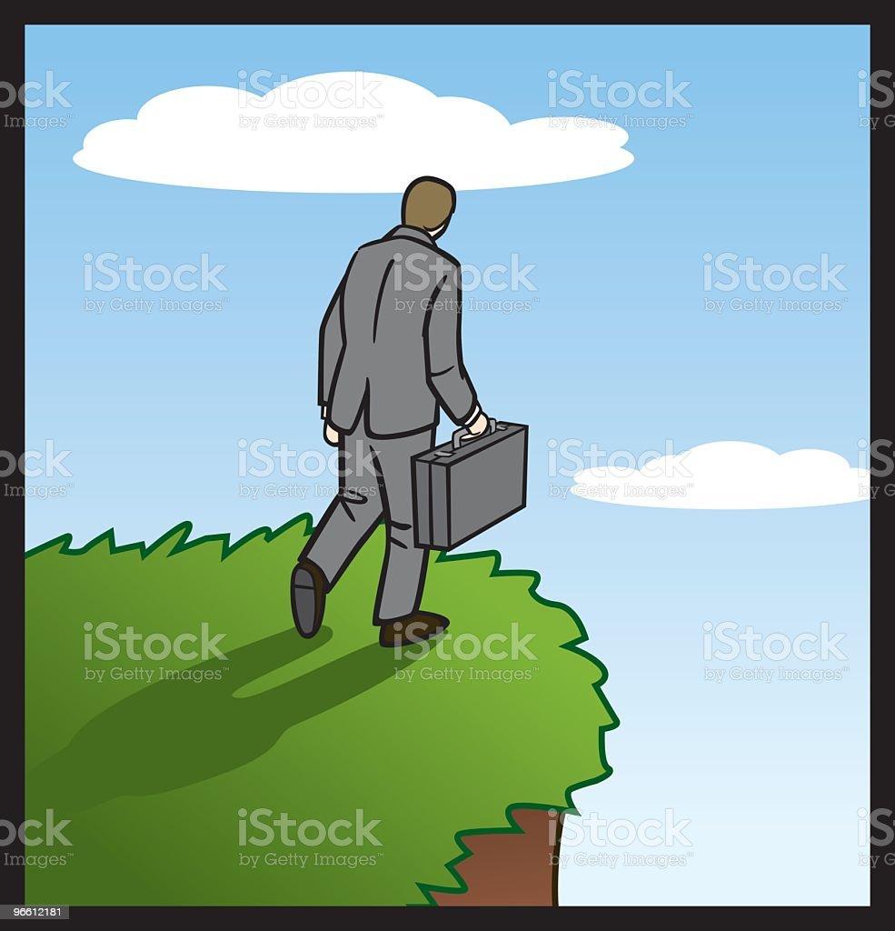 Businessman Going Over The Edge - Royaltyfri Affärsman vektorgrafik