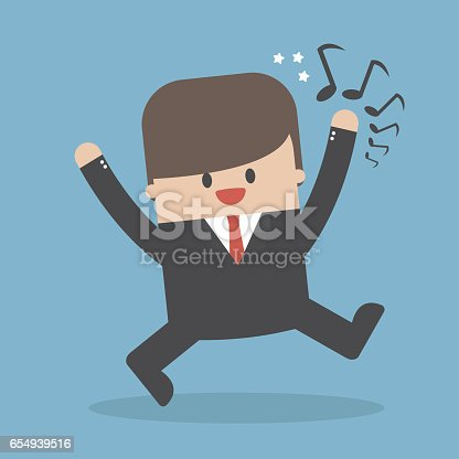 Businessman good-humored rushing singing. vector. flat design