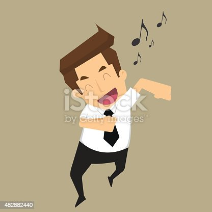 Businessman good-humored rushing singing.  vector