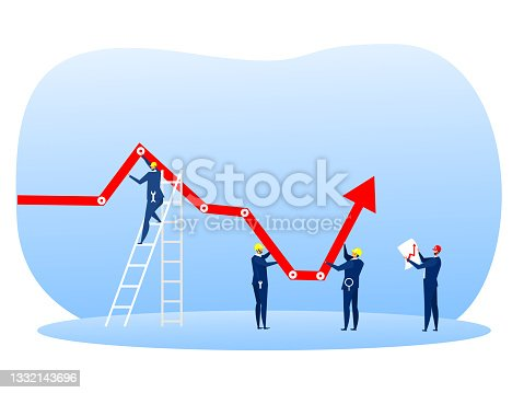 istock Businessman group holding decreasing chart graph arrow up with  with tool wrench concept 1332143696