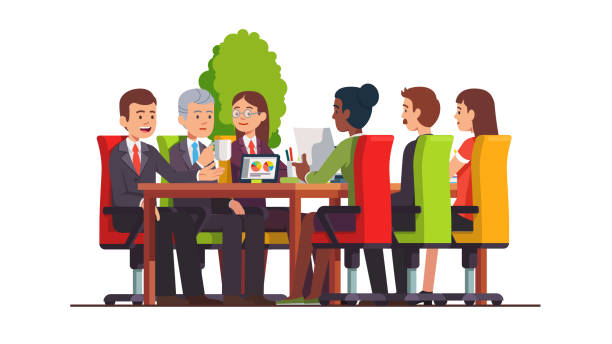 Businessman group meeting & discussing in  board room at big conference desk. Business people teamwork. Modern office interior. Flat isolated vector vector art illustration