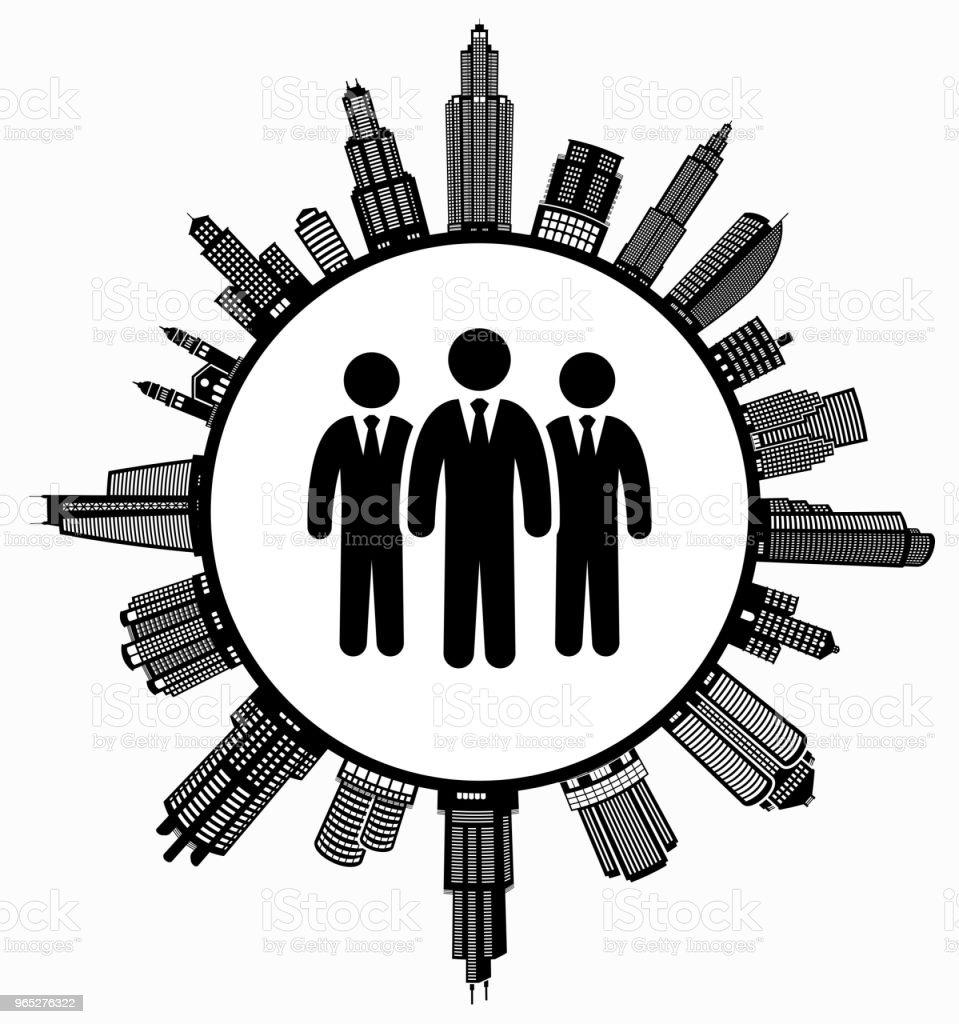 Businessman Group  on Modern Cityscape Skyline Background businessman group on modern cityscape skyline background - stockowe grafiki wektorowe i więcej obrazów architektura royalty-free
