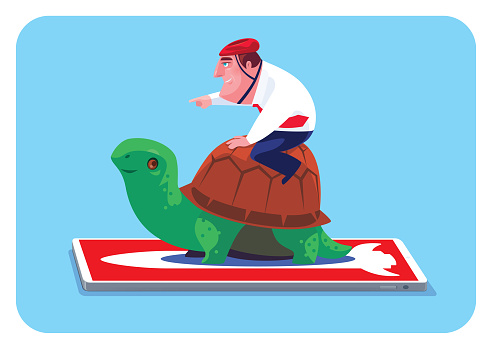 businessman guiding tortoise with smartphone