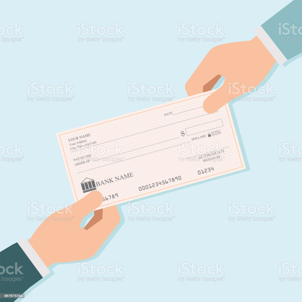 Businessman hand giving blank bank checks or cheque book to other person. vector art illustration