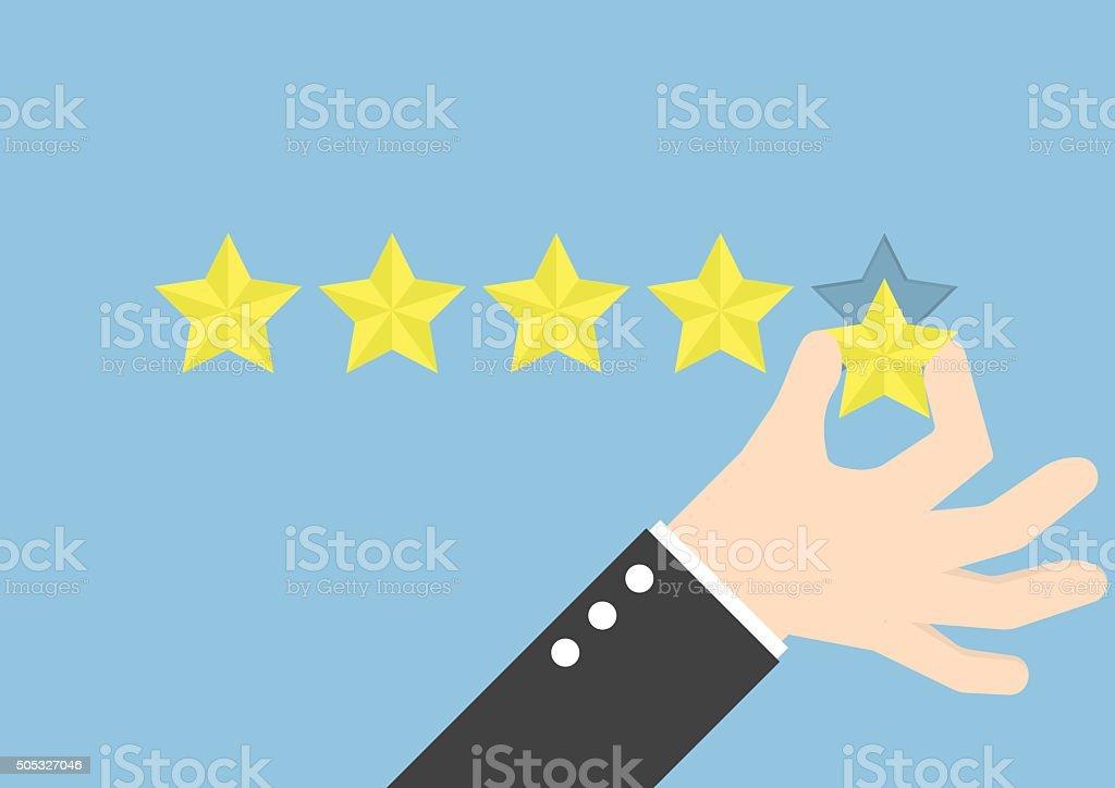 Mano de hombre de negocios dando cinco estrellas de calificación y comentarios concepto - ilustración de arte vectorial