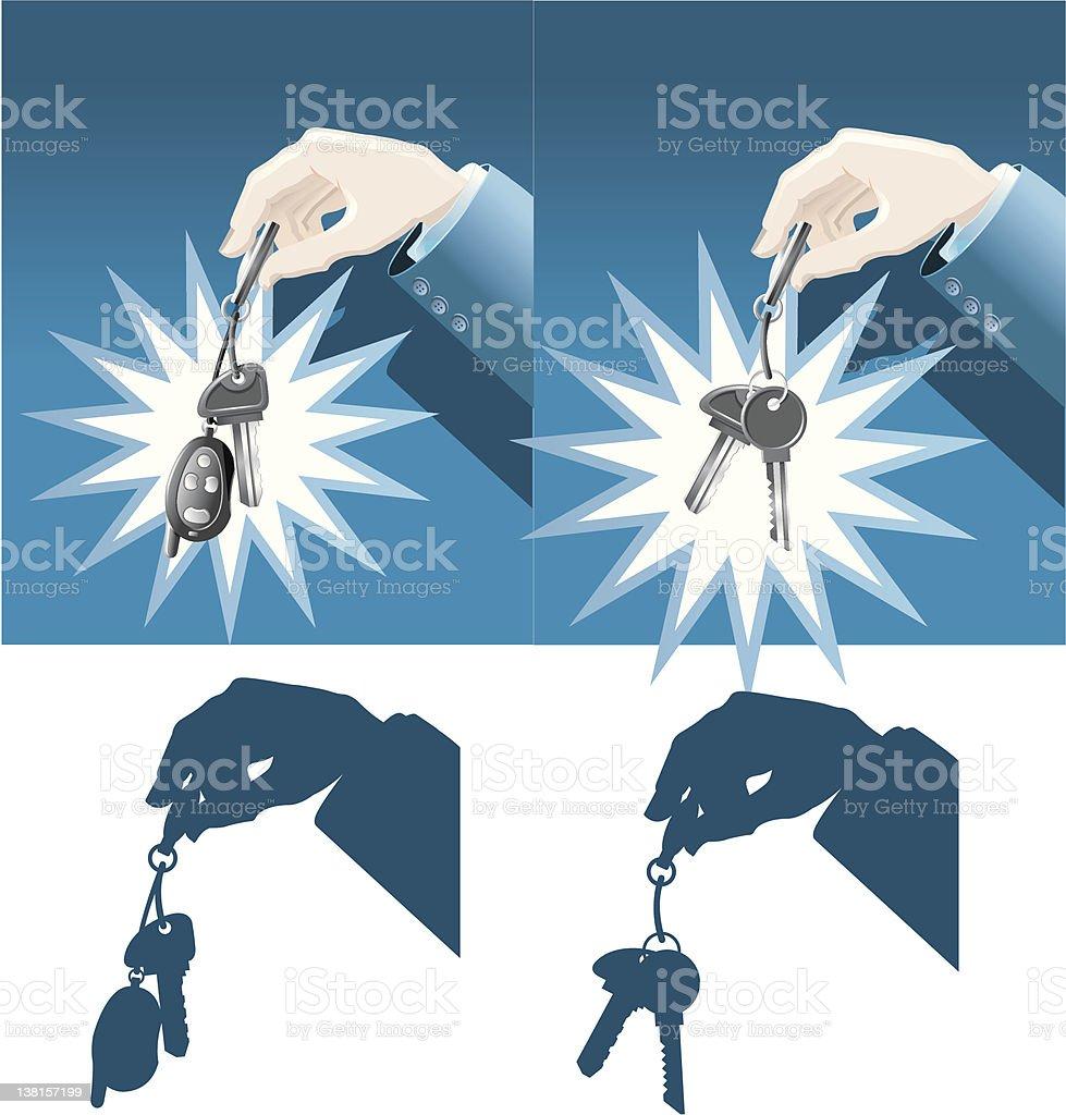 Businessman hand holding car and house keys royalty-free stock vector art