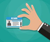 Cartoon businessman Hand holding Id card. vector illustration in flat design on green background