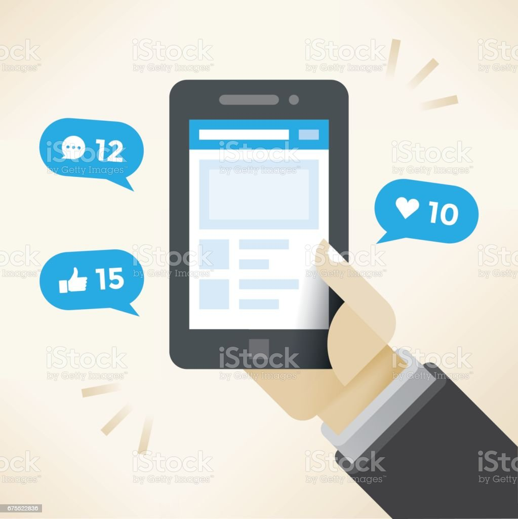 Businessman hand holding mobile phone with social network notifications on screen - new chat messages, new article likes and appreciations. Idea - social networking in modern business negotiations. vector art illustration