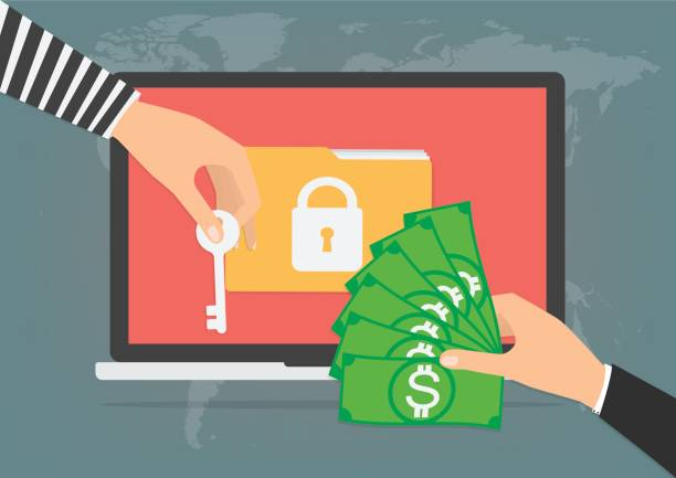 Businessman hand holding money banknote for paying the key from hacker for unlock folder got ransomware malware virus computer. Vector illustration technology data privacy and security concept. vector art illustration
