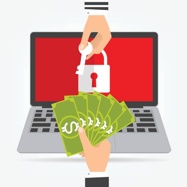 Businessman hand holding money banknote for paying the key from hacker for unlock laptop got ransomware malware virus computer. Vector illustration technology data privacy and security concept. vector art illustration