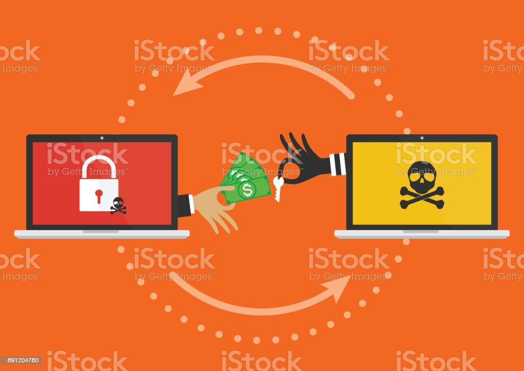 Businessman hand holding money banknote for paying the key from hacker for unlock computer folder got ransomware malware virus computer PC. Vector illustration cybercrime concept. royalty-free businessman hand holding money banknote for paying the key from hacker for unlock computer folder got ransomware malware virus computer pc vector illustration cybercrime concept stock illustration - download image now