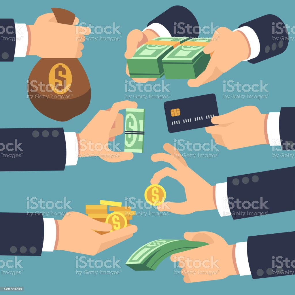 Businessman hand holding money. Flat icons for loan, paying and cash back concept Businessman hand holding money. Flat icons for loan, paying and cash back concept. Vector money cash, pay and giving illustration Adult stock vector
