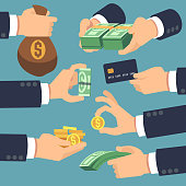 Businessman hand holding money. Flat icons for loan, paying and cash back concept. Vector money cash, pay and giving illustration